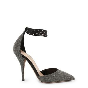 Valentino Silver Grey Leather With Glitter Pumps